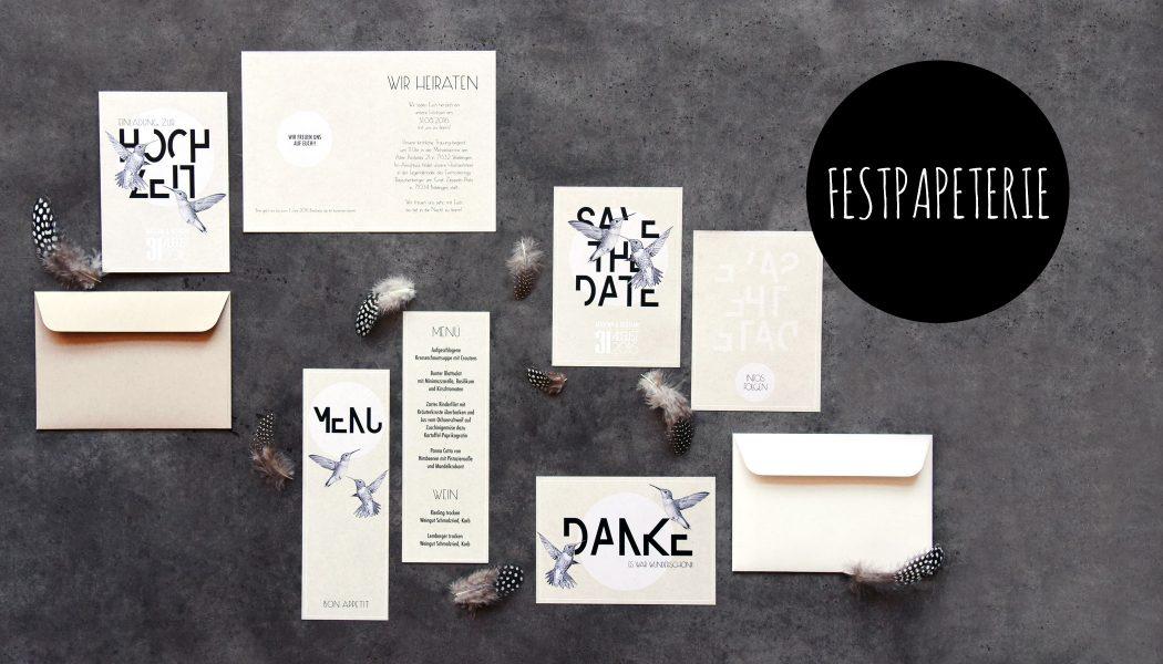 individuelle Festpapeterie Hochzeit Hochzeitseinladung Save The Date Dankeskarte Menü Kolibri