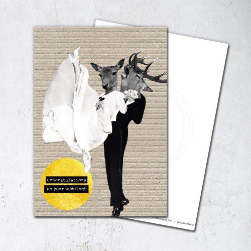 Paperlove Postkarte Collage Just Married Karte zur Hochzeit
