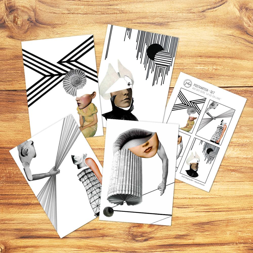 JUKA-Paperlove-Postkarte-Grußkarte-Postcard-La-vie-en-ligne-Set#2