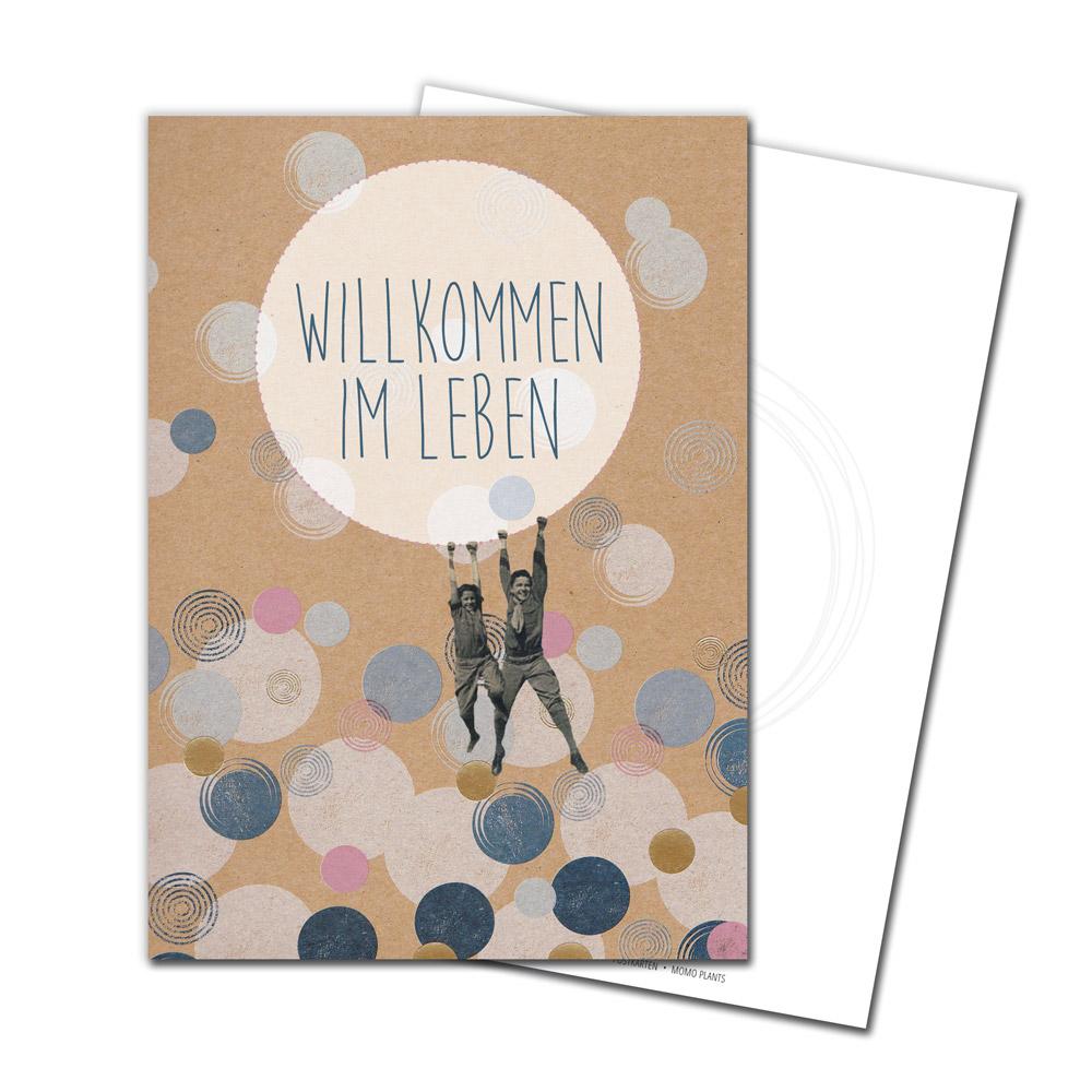 JUKA-Paperlove-Postkarte-Grußkarte-Postcard-Collage-Geburt